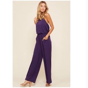 Purple Halter Wide Leg Jumpsuit S/M/L NWT